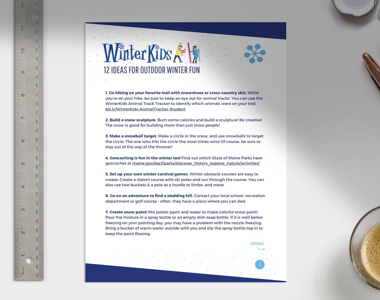 12 Ideas for Outdoor Winter Fun Printable Preview