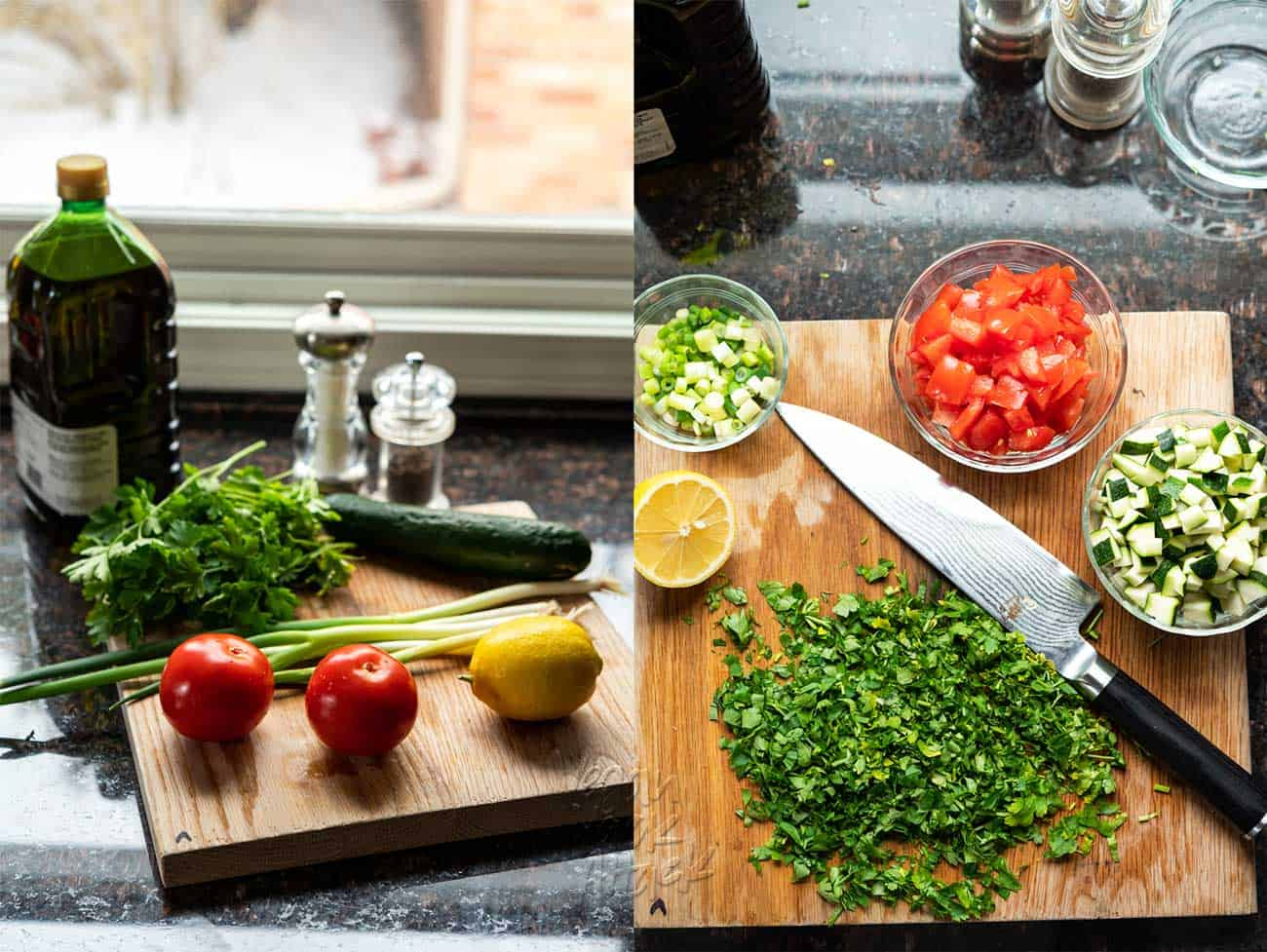 Two images of fresh ingredients for tabbouleh, on right the ingredients are chopped and prepped