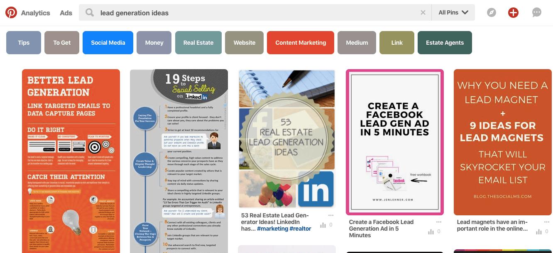 lead generation ideas - top 5 results Pinterest
