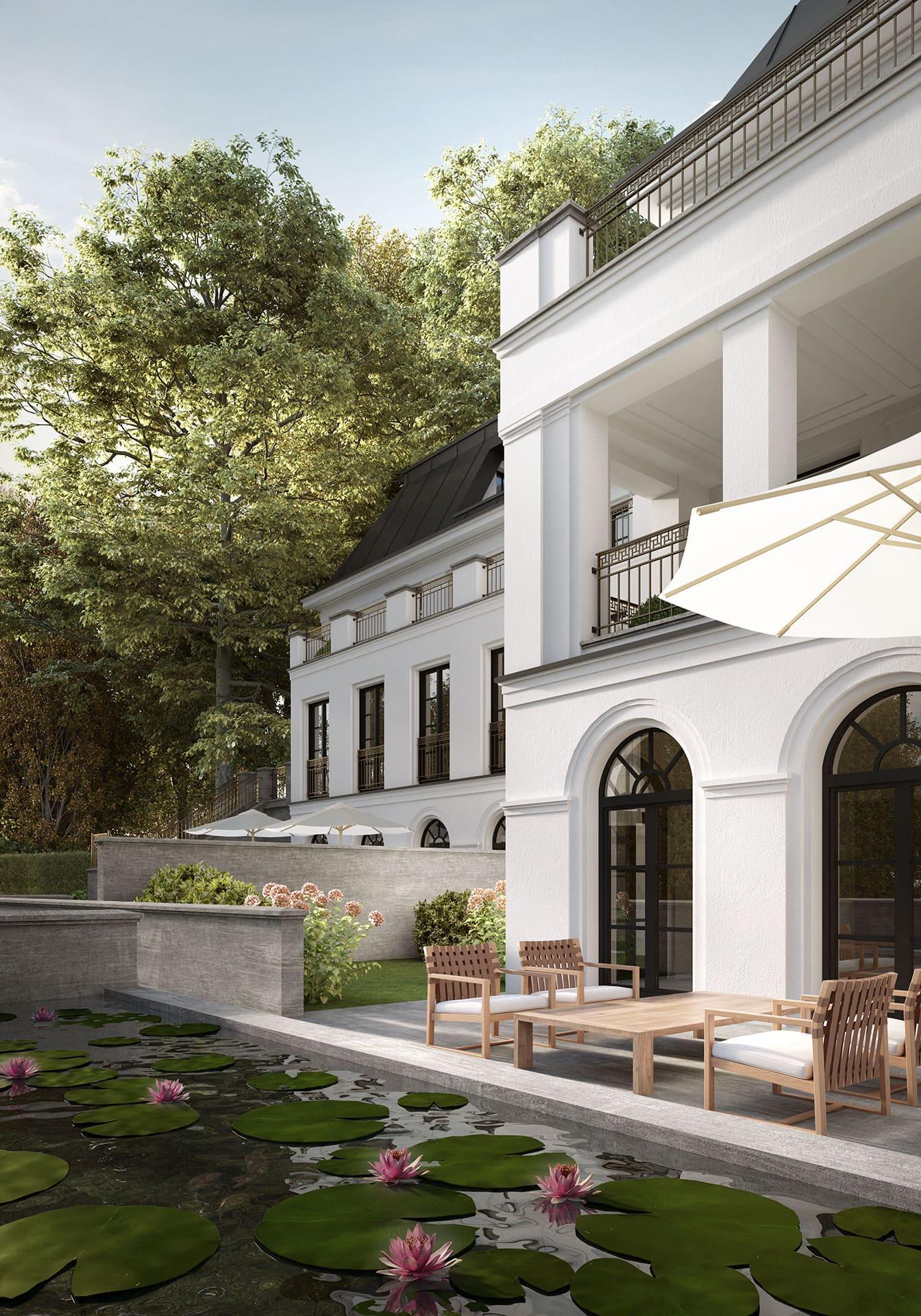 Haus Bennett Terrasse mit Wasserbecken Berlin-Grunewald