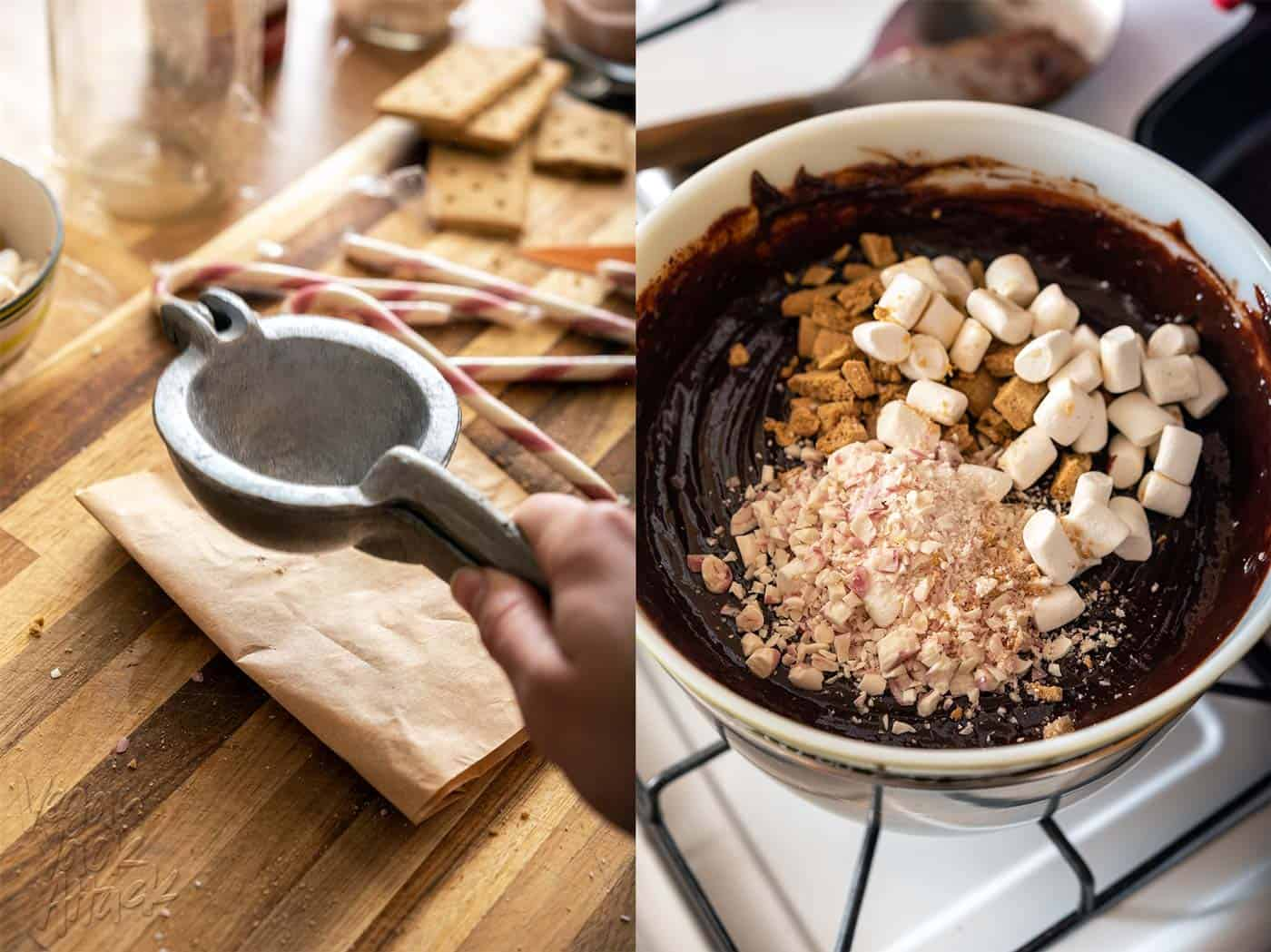 Left image: hitting a paper bag filled with candy cane to crush the pieces. Right image: Mix-ins being added to fudge base
