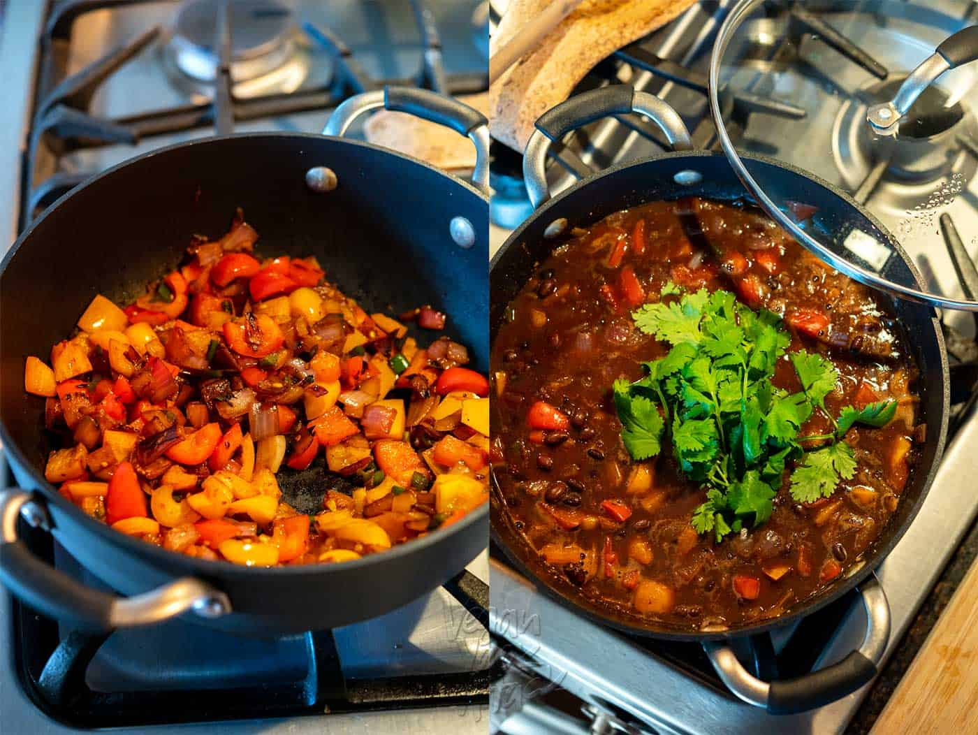 Two images, side-by-side of steps in cooking soup on a stovetop