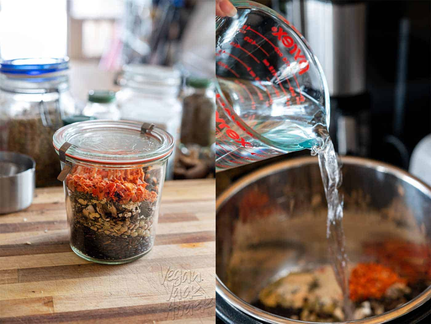 Images of assembly soup mix and water pouring into a pot