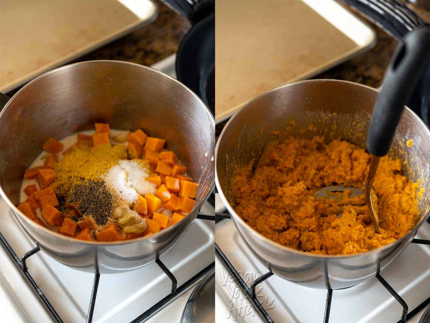 Images of sweet potato filling being made in a pot