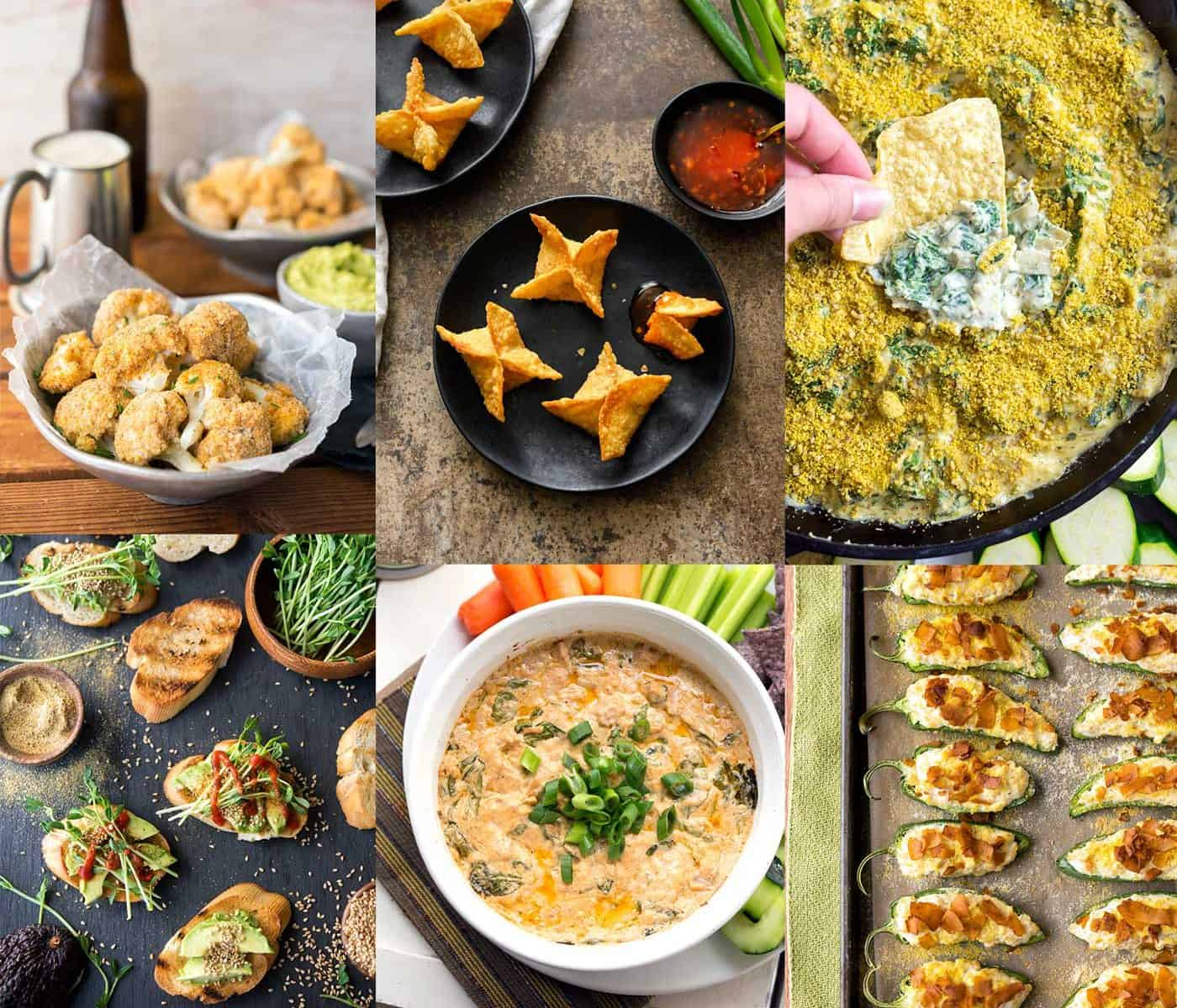 Image collage of several vegan appetizers including crostini, dip, baked cauliflower, and jalapeño poppers