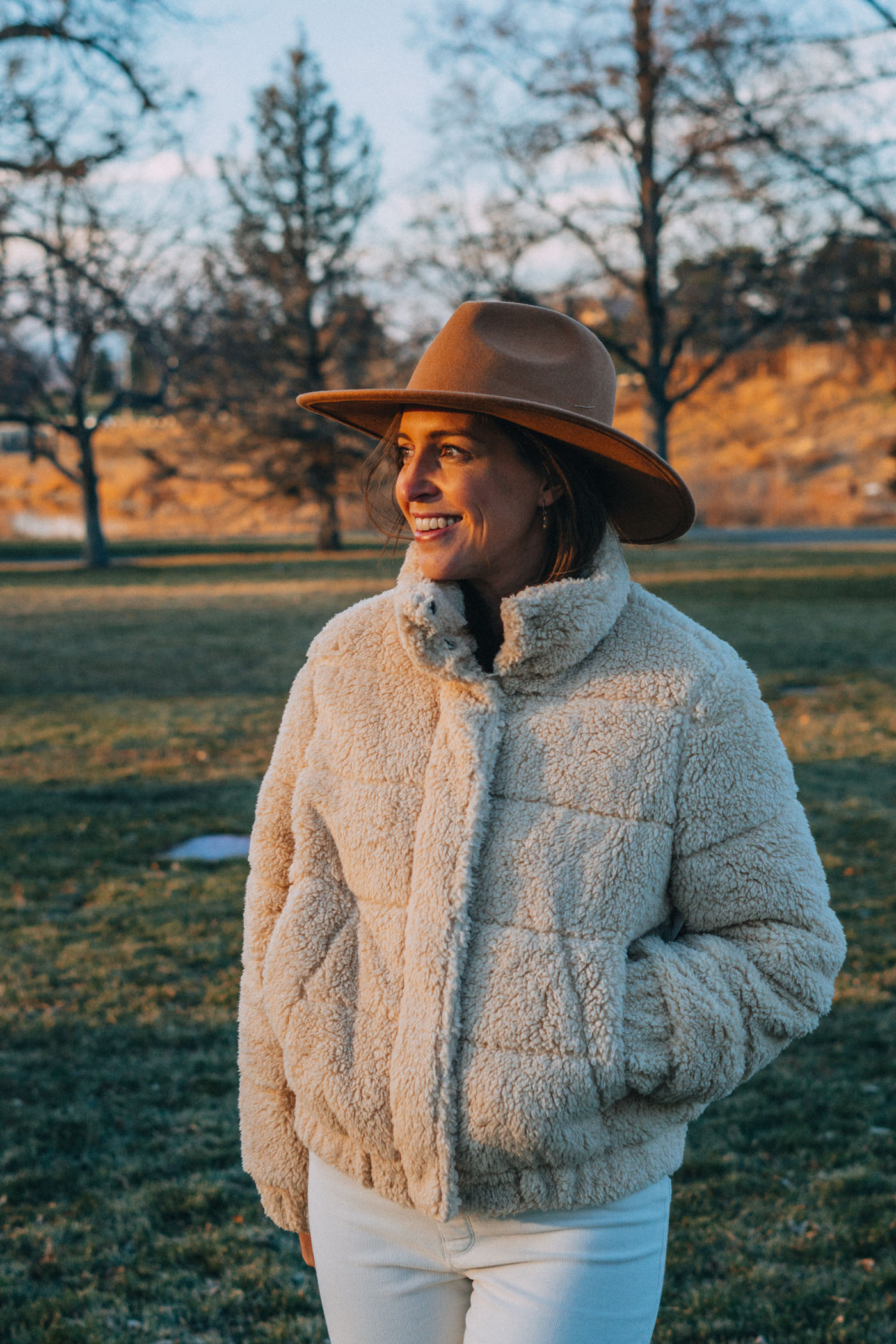 Blue Mountain Belle in UpWest Sherpa Puffer at Sunset