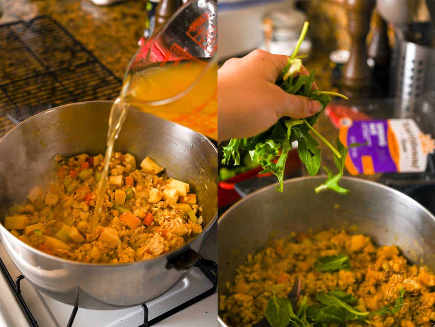 Pouring vegetable broth into a stuffing mix, within a large pot. Then, adding greens to the pot of stuffing mix.
