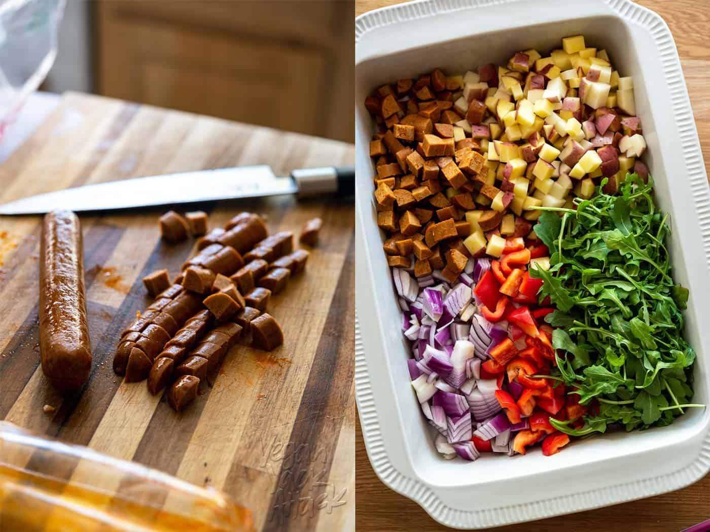 Image left: chopping vegan chorizo, image right: casserole ingredients in baking dish