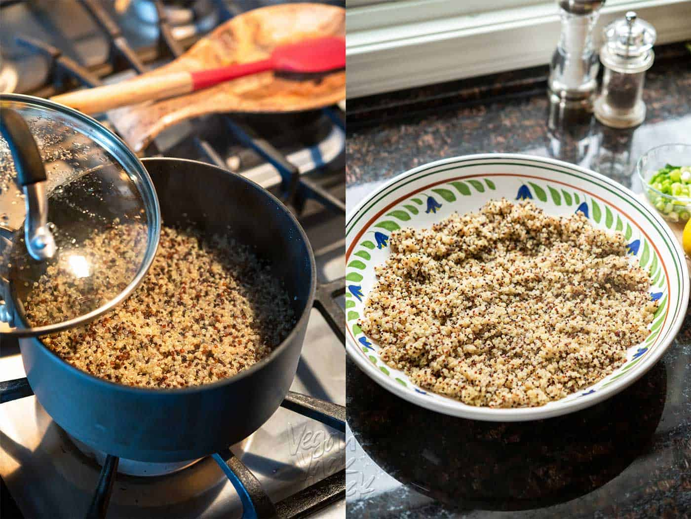 Left image: cooking quinoa in a pot, Right image: Cooked quinoa, fluffed, in a large bowl