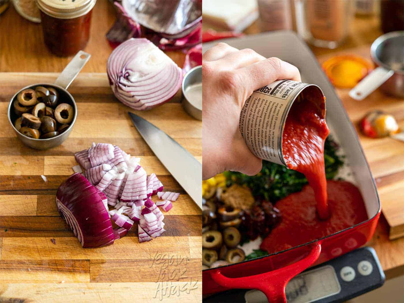 Image collage of ingredient prep, chopping onions and pouring tomato sauce