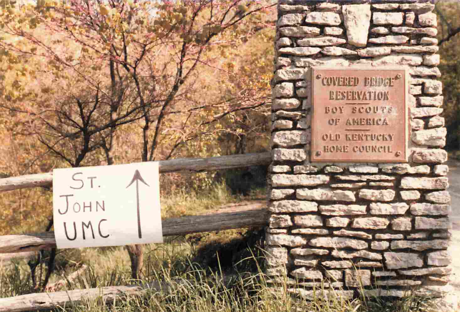Picture of Original St John Sign at Covered Bridge Rd