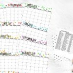 flat lay printable calendar with polka dot design