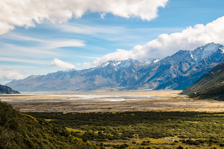 Ebene zwichen Lake Pukaki und Mount Cook Nationalpark