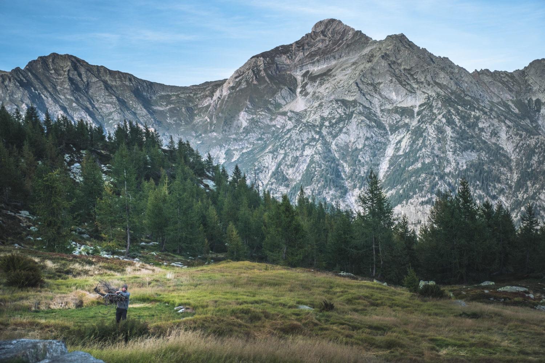 Christopher Püschel trägt Holz durch eine Wiese mit Tannen und Bergen im Hintergrund