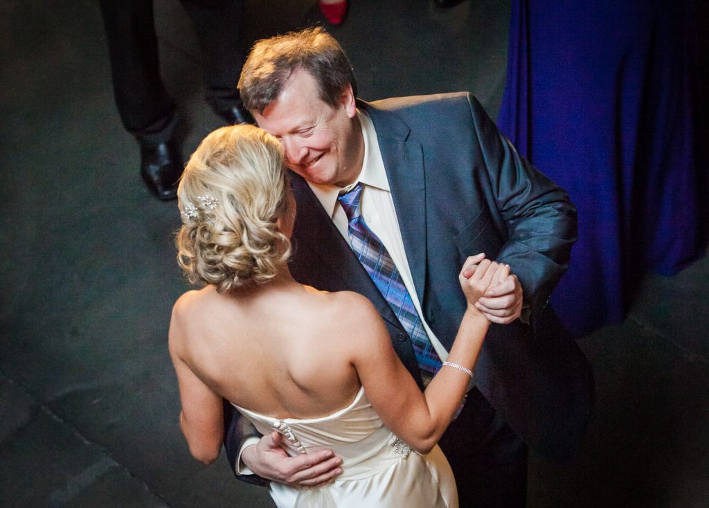 Bride and father dancing for an article on how to become a wedding officiant in NYC