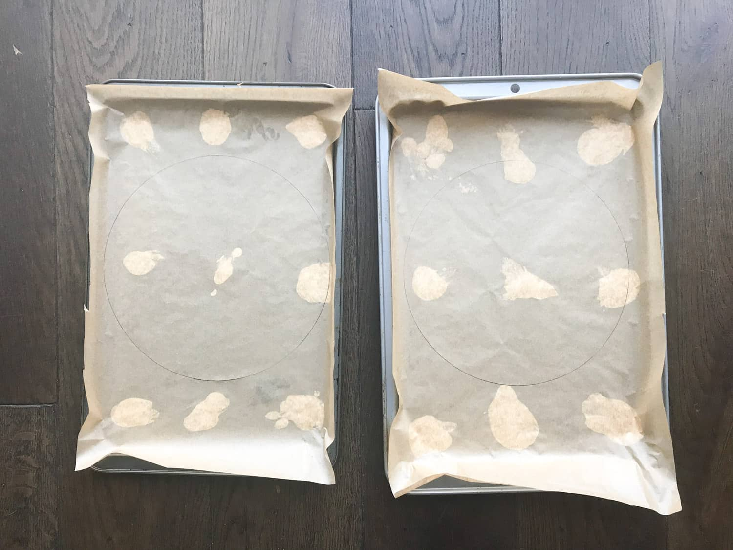 Baking trays with baking paper