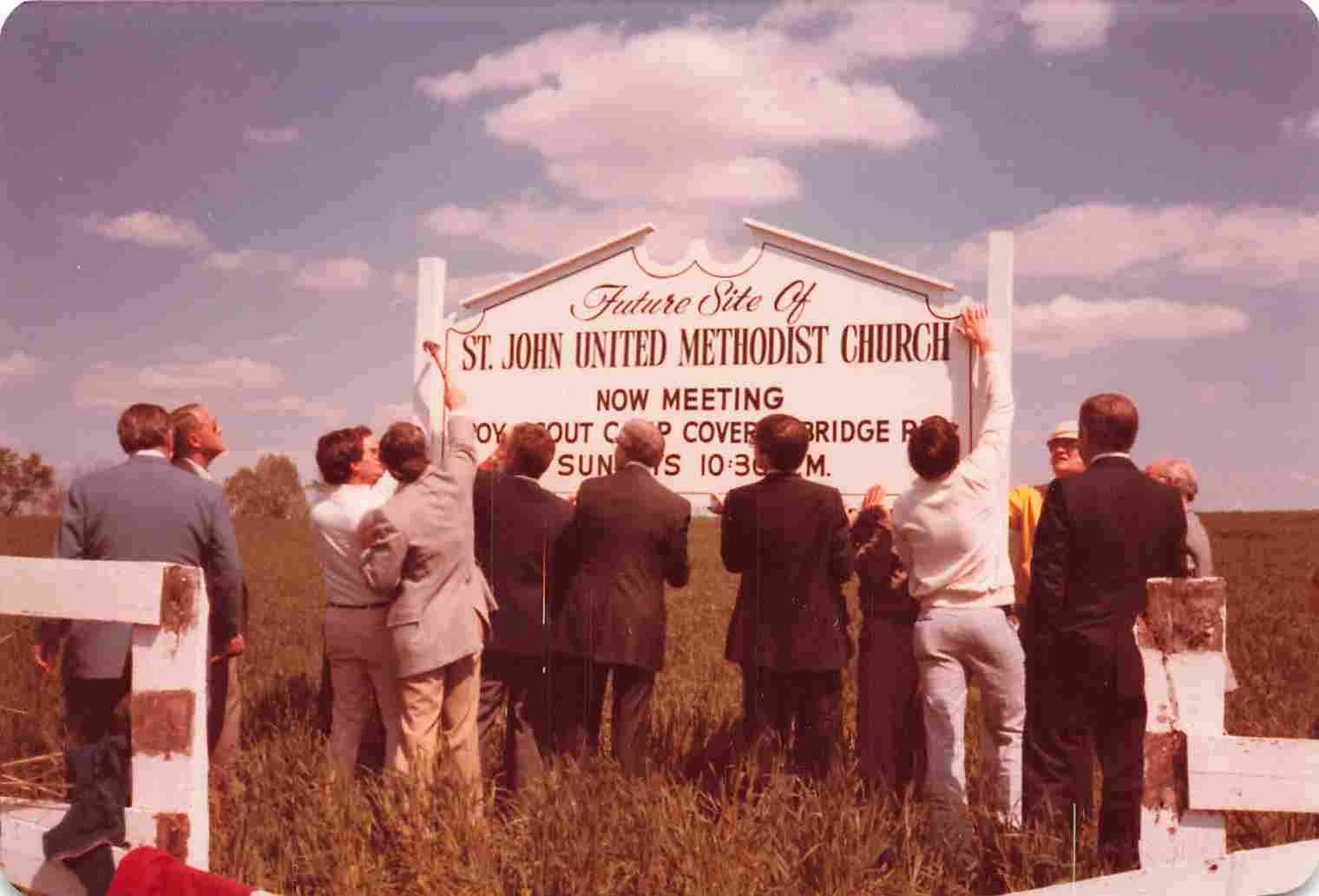 Picture of sign for future site of St John United Methodist Church