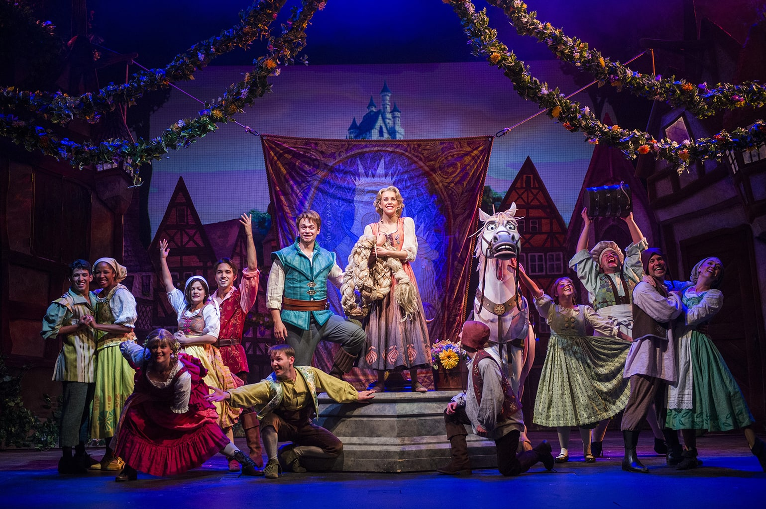 """""""Tangled: The Musical"""" is the newest original Disney Cruise Line stage spectacular. Presented exclusively aboard the Disney Magic, it combines a heartfelt story, an enchanting score and lavish production numbers to showcase the thrilling adventure of Rapunzel and Flynn Rider as they face ruffians, thugs and a budding romance on an exhilarating journey of self-discovery."""