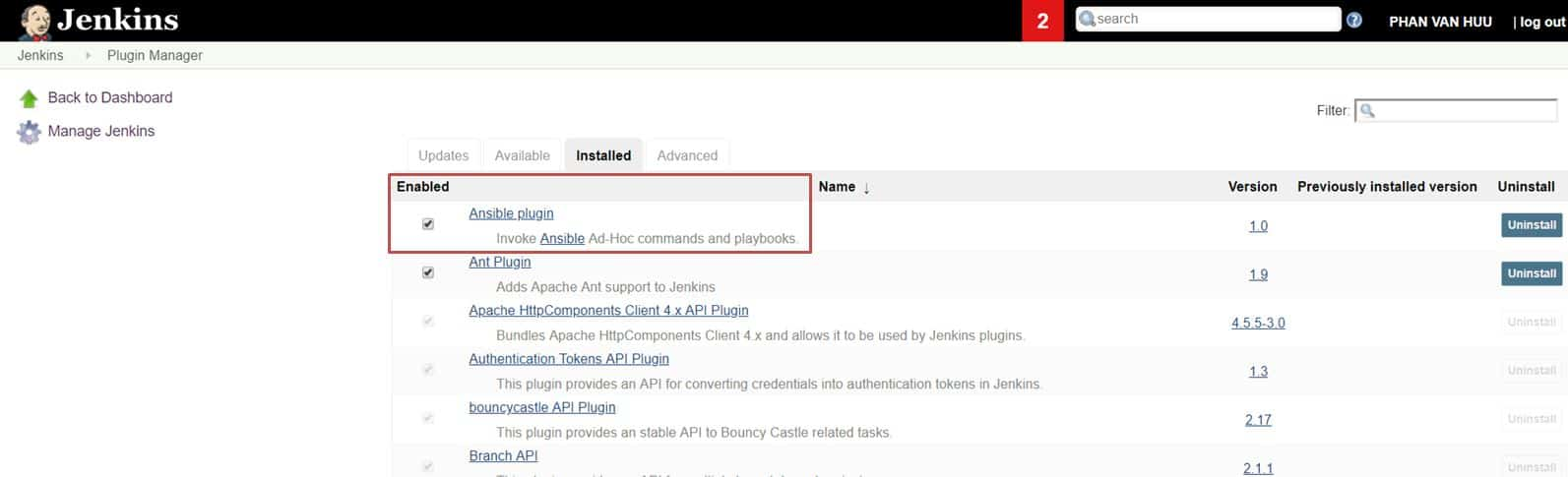 Jenkins install Plug-in Ansible
