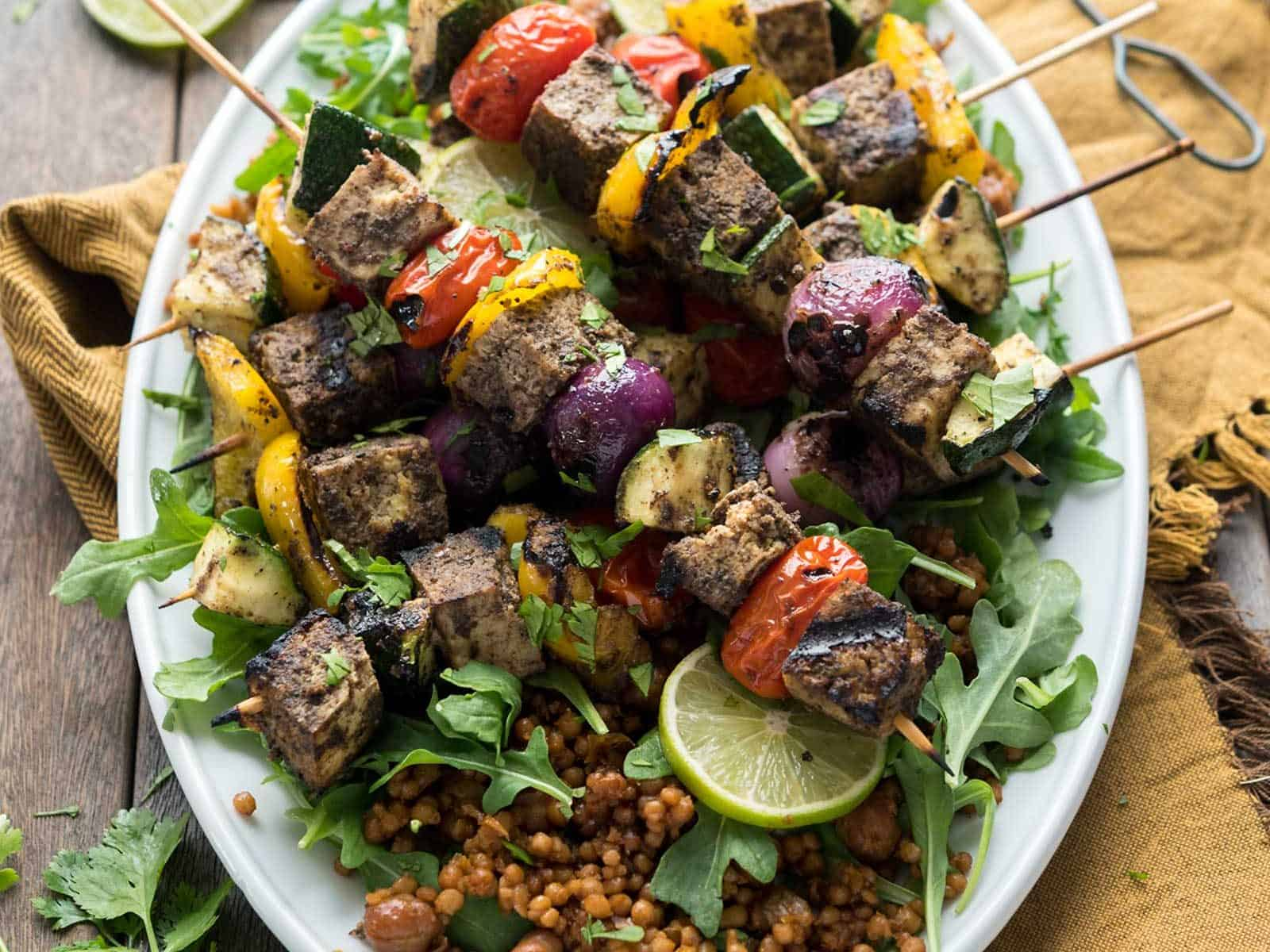 Grilled Tofu Shawarma Skewers! Perfect for Summer grilling, easy-to-make with Wild Garden's marinade. Vegan, Gluten-free #veganyackattack