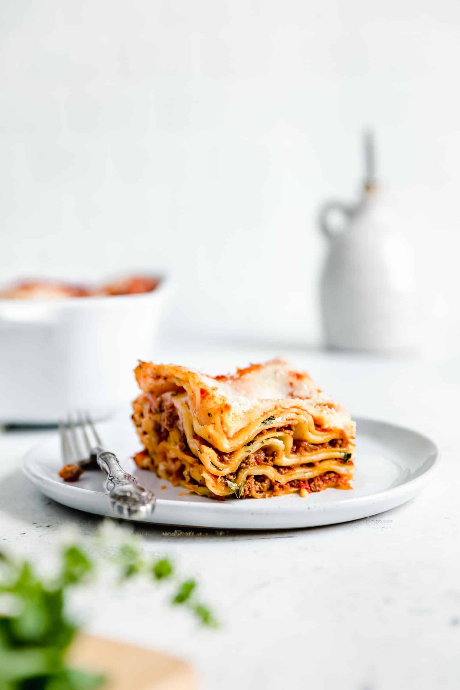 piece of homemade meat lasagna with fork