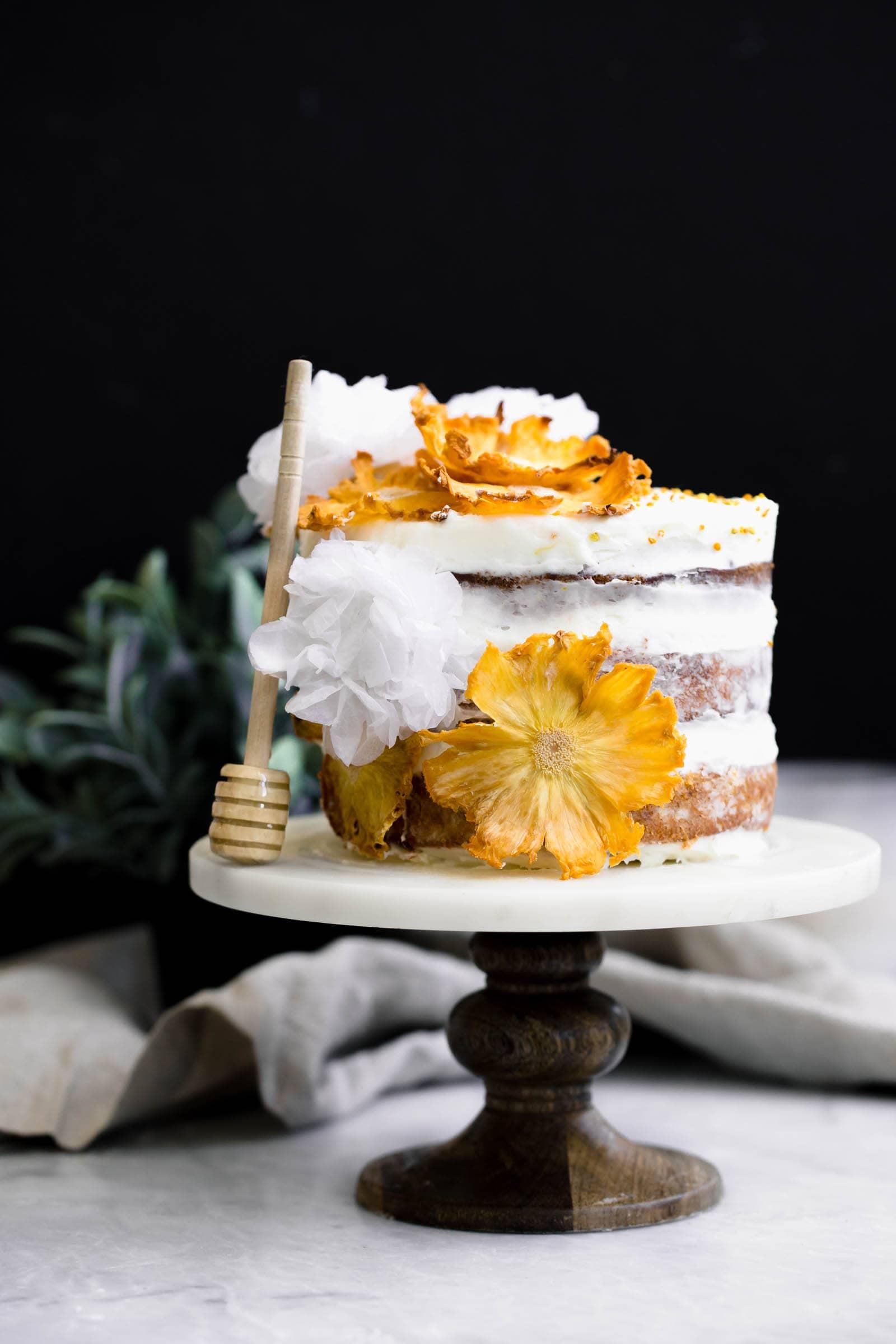 Hummingbird Cake on cake stand