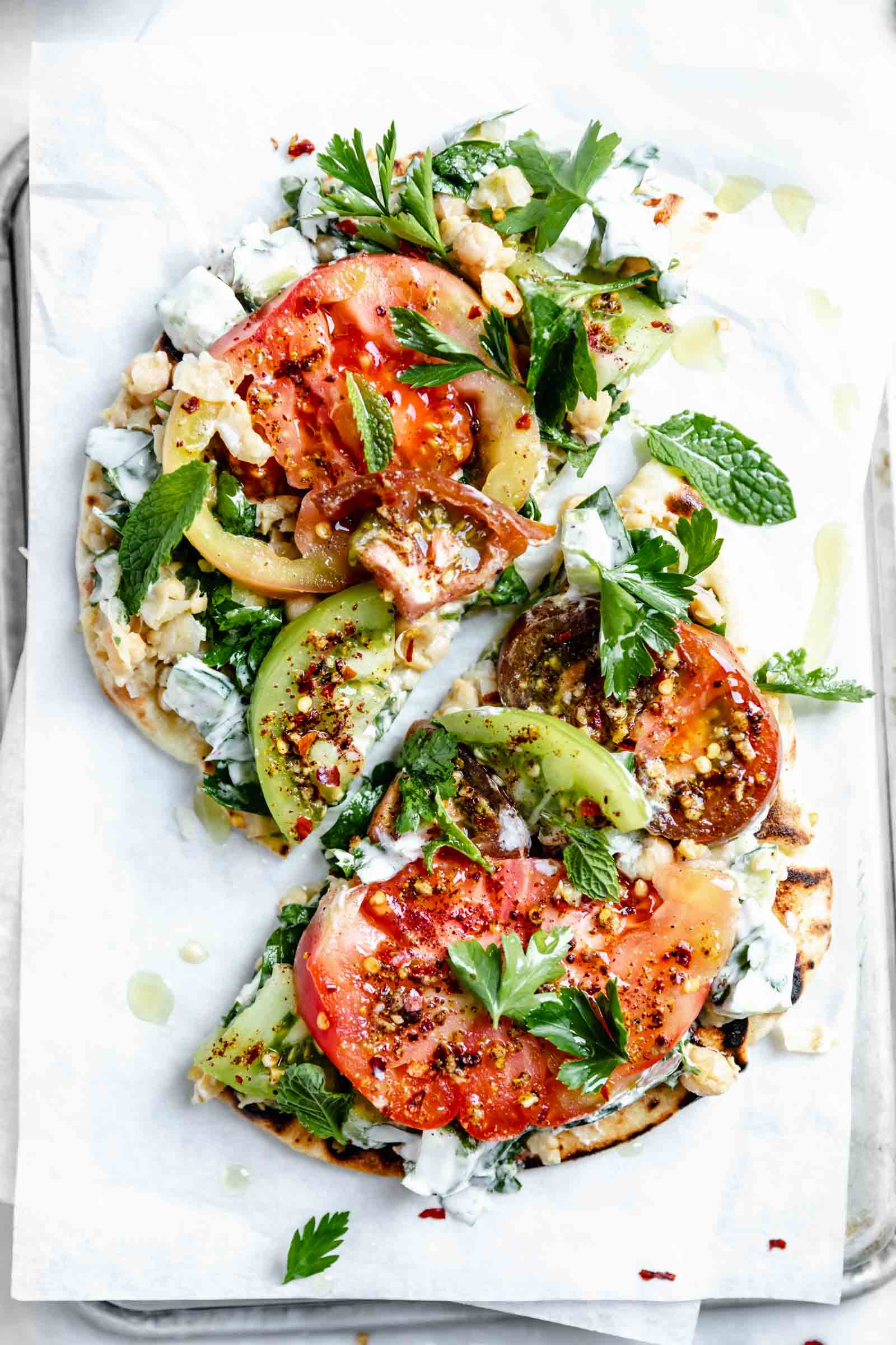 heirloom tomato flatbread with falafel spice