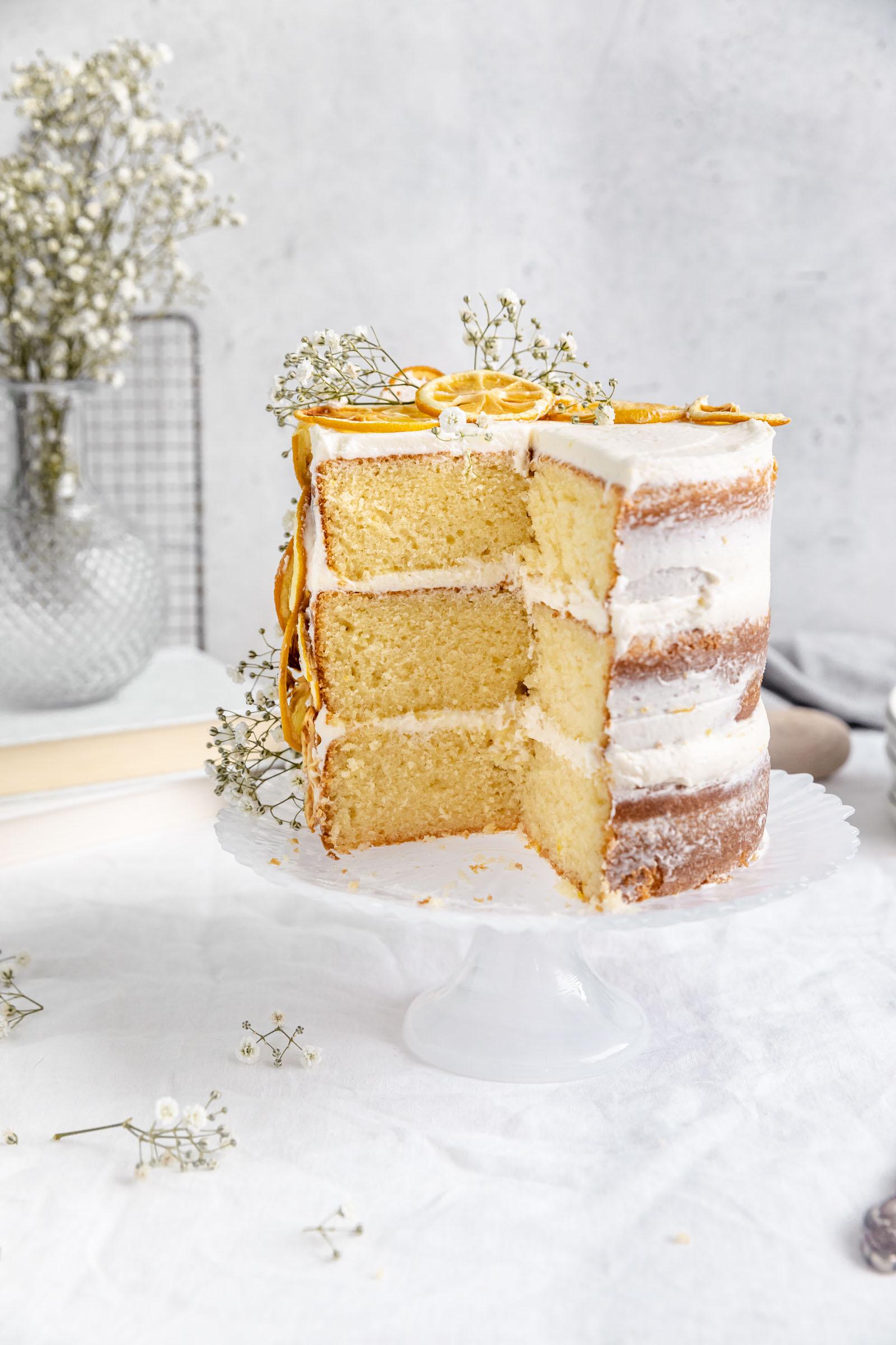 lemon layer cake cut into