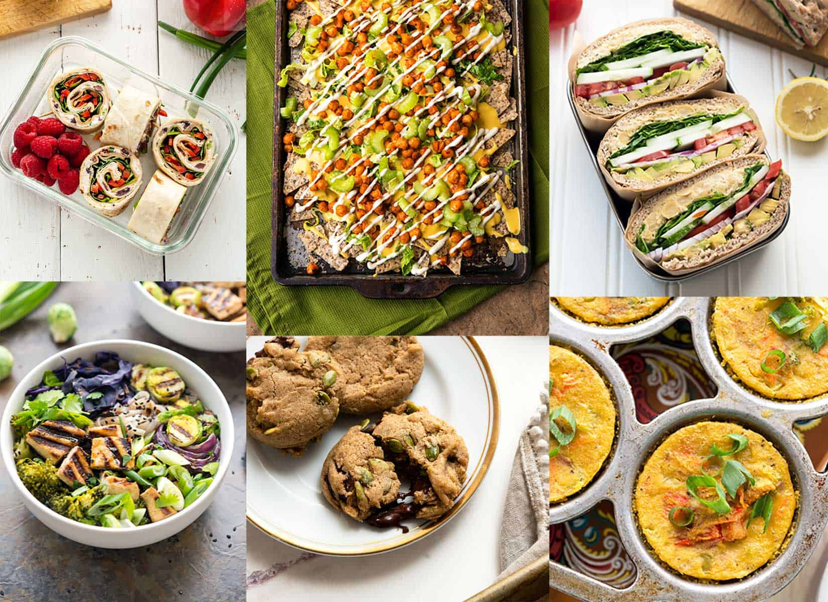 Image collage of several easy vegan recipes, like nachos, cookies, sandwiches and soup