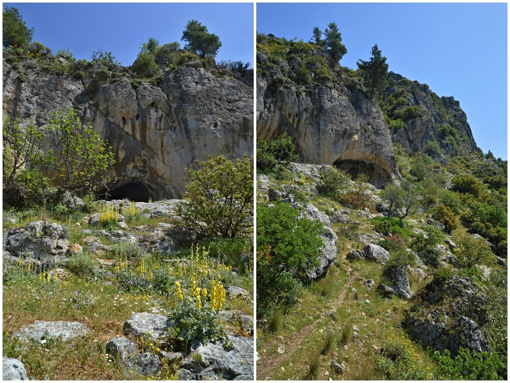 Small caves just before the last descent to Agia Marina Church.