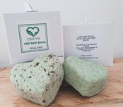 white boxes 2 green heart bath bombs