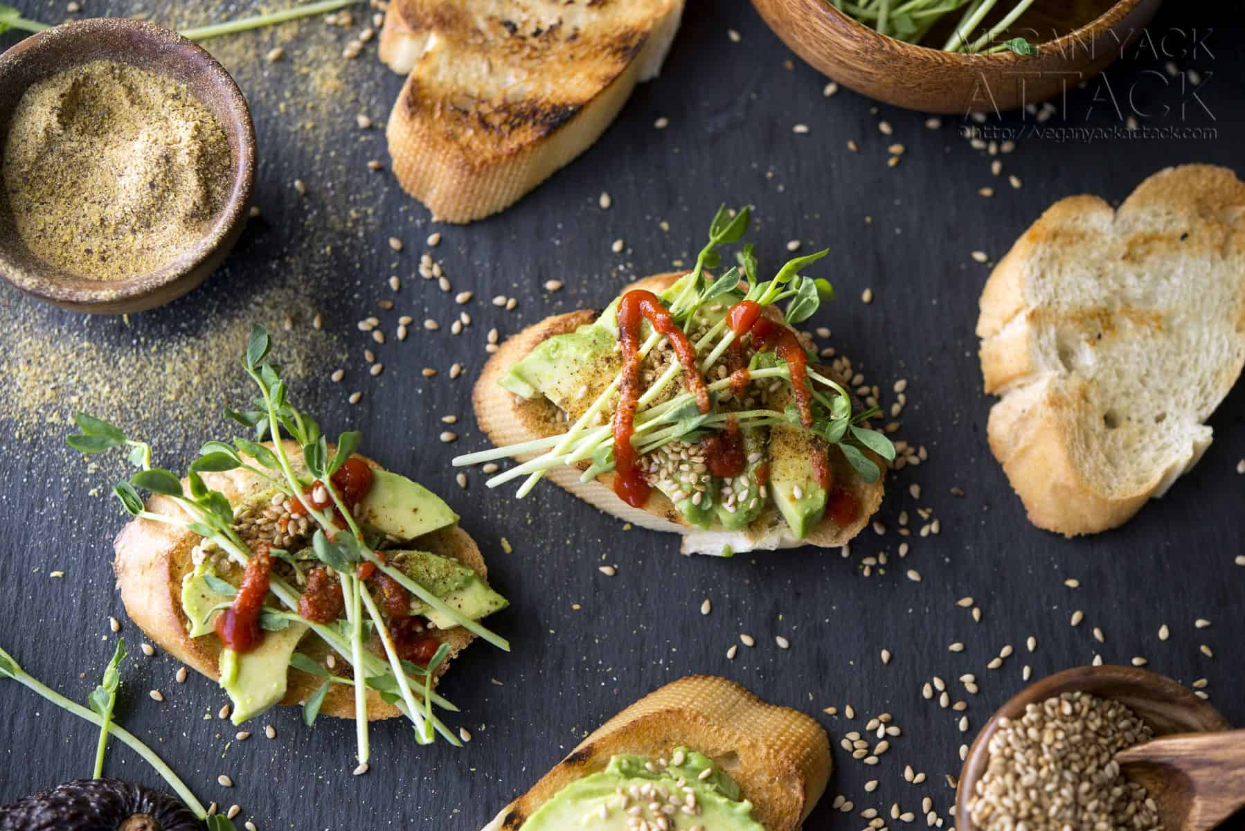 Smoky Sesame Avocado Crostini