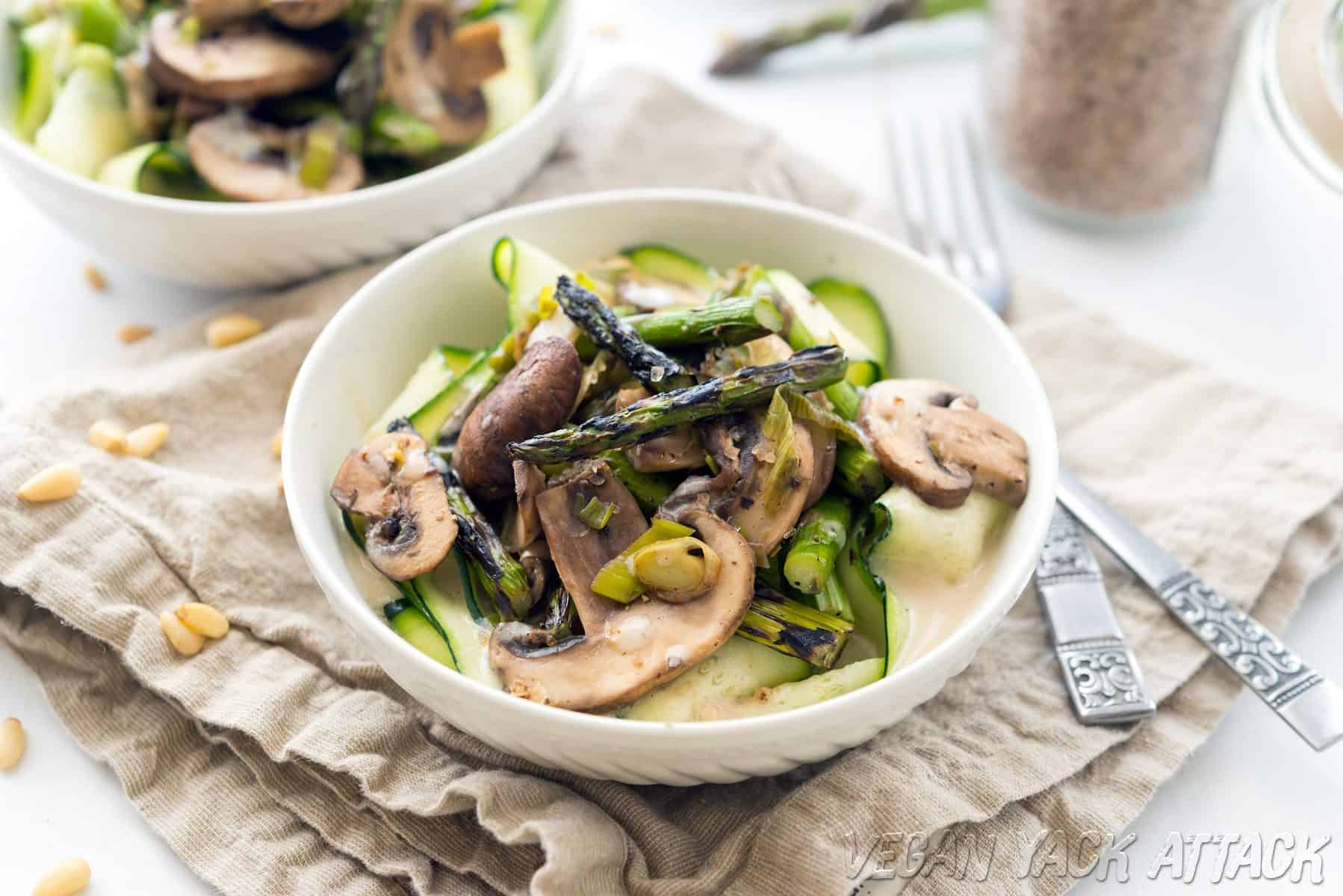Grilled Asparagus with Cream Sauce and Zucchini Ribbons