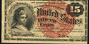 1863 4th Issue 15 Cent Note Large Red Seal