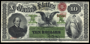 1863 $10 Interest Bearing Note Red Seal with spikes