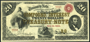 1863 $20 Compound Interest Treasury Note Red Seal with spikes