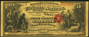 1870 $5 The National Gold Bank Note of California Red Seal