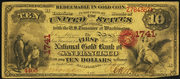 1870 $10 The National Gold Bank Note of California Red Seal