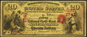 1870 $20 The National Gold Bank Note of California Red Seal