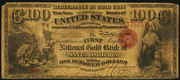 1872 $100 The National Gold Bank Note of California Red Seal