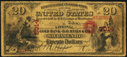 1872 $20 The National Gold Bank Note of California Red Seal