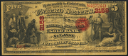 1874 $5 The National Gold Bank Note of California Red Seal