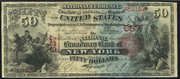 1875 $50 National Bank Notes Red Seal with scallops