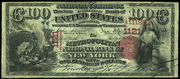 1875 $100 National Bank Notes Red Seal with scallops