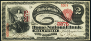 1875 $2 National Bank Notes Red Seal with scallops