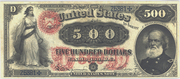 1878 $500 Legal Tender Red Seal with rays