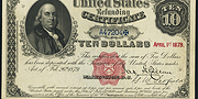 1879 $10 Refunding Certificates Red Seal with scallops