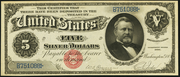 1886 $5 Silver Certificates Red Seal