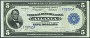 1915 $5 Federal Reserve Bank Note Blue Seal