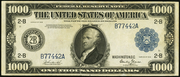 1918 $1000 Federal Reserve Note Blue Seal